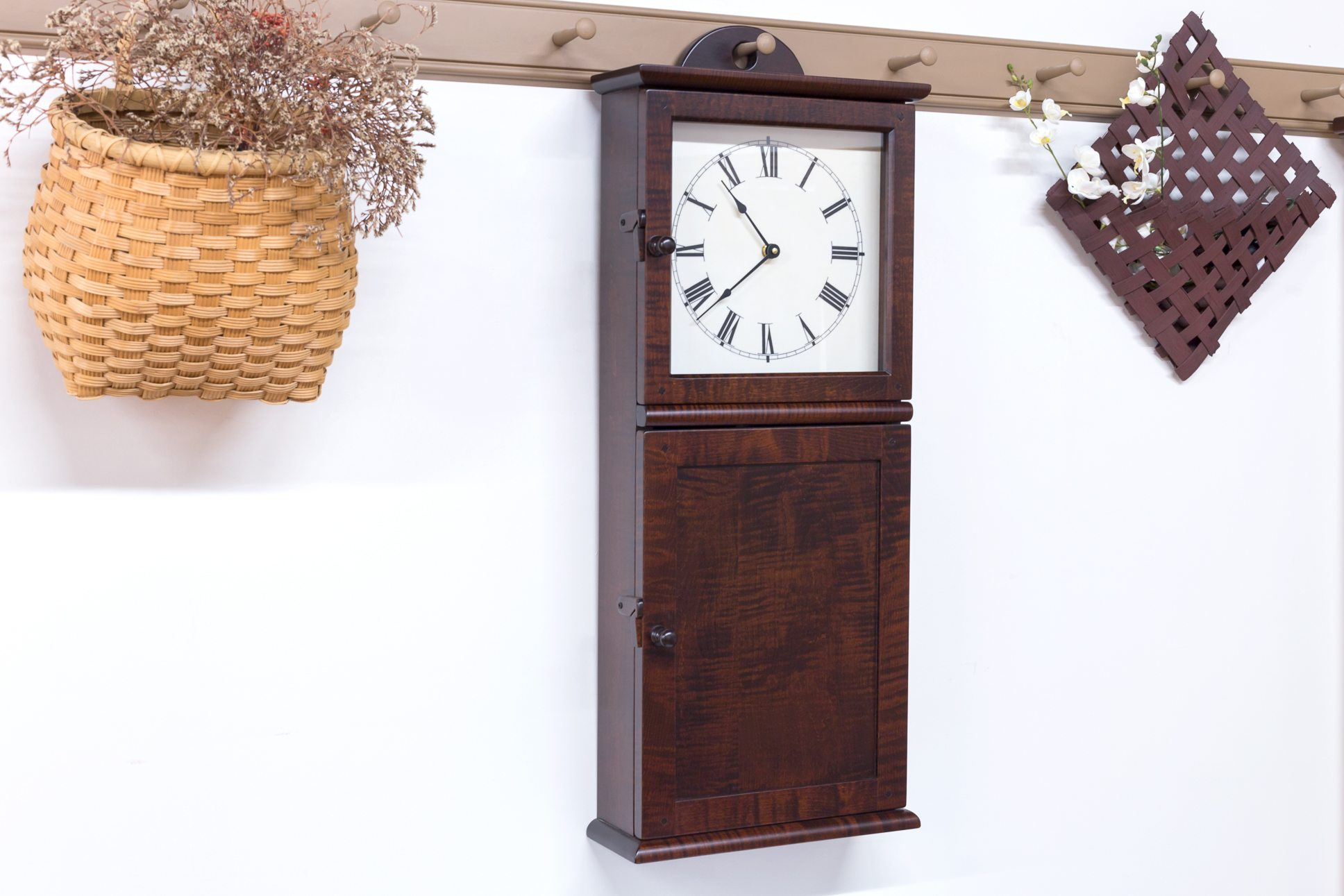 Products archive shaker shoppe tiger maple fireside hanging wall clock 125000 69500 amipublicfo Image collections
