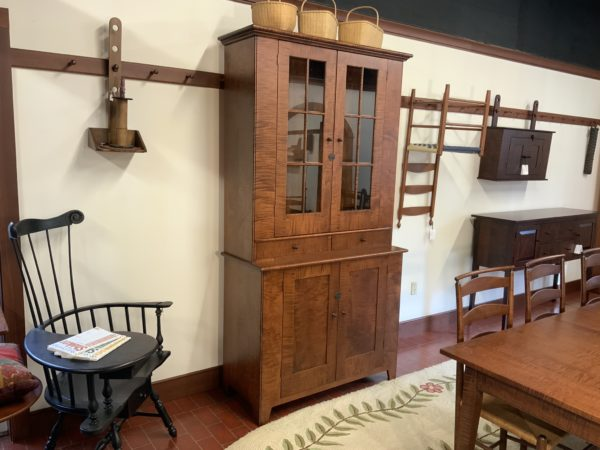 Shaker Step-back Hutch in Tiger Maple wood